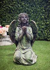 Angel Praying Kneeling Statue Figure Stone Effect Outdoor Garden Religious Green