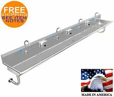 """Hand Sink Wash Up Ada 4 Users 144"""" Automatic Faucet Stainless Steel Multistation"""