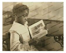 1920s era vintage photo-African American girl reading book at school_2-8x10 in.