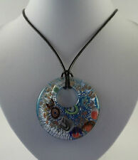 """Handmade Silver Foil Glass Round Pendant & 18"""" Black Leather Cord Necklace."""