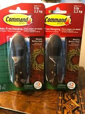 (2) COMMAND Brand Hooks Metallic  Bronze 5lbs 3M BRAND NEW
