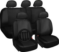 Faux Leather Car Seat Covers Black 17pc Set w/Steering Wheel/Belt Pad/Head Rests