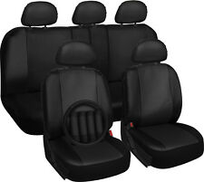 Faux Leather Black Seat Covers for Kia Soul w/Steering Wheel-Belt Pads-Head Rest