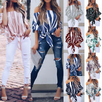 Womens Bardot Off Shoulder Tops Ladies Summer Casual Loose T Shirt Blouse 6-24
