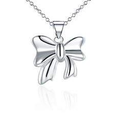 Birthday Gift 925 Sliver Solid Bow Shape Pendant Necklace Sets Girl Gift Box