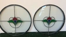 """A PAIR OF 19"""" REPRODUCTION ROUND PORTHOLE CIRCULAR STAINED GLASS WINDOW PANELS"""