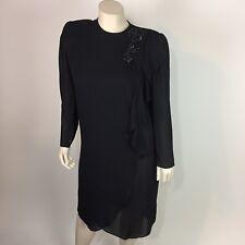 Monica Richards Womens Black Dress Shift knee long sleeve size 16