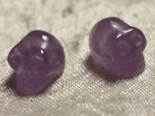 1pc - Perle de Pierre Améthyste - Crâne tête de mort 14x10mm perçage coté - 4558