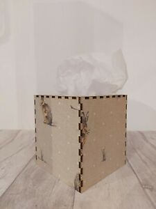 Tissue Box Cover Made W/ Fryetts Hartley Hare Fabric Cube Square