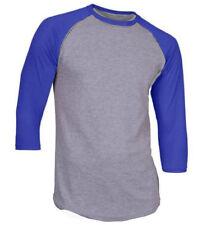 3/4 Sleeve Raglan Baseball Mens Plain Tee Jersey TShirt Gray Royal Blue 2XL