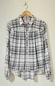 Country Road Size M 12 14 Shirt Pink Green White Plaid Modal Long Sleeve Relaxed