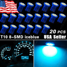 20 PCS Aqua Ice Blue T10 Side Wedge 8-SMD  Car LED Bulbs Guage Instrument Cluste