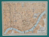 "CINCINNATI Town Plan Ohio - 1909 MAP Baedeker 6 x 8"" (15 x 20 cm)"