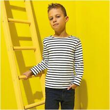Kids Childrens Stripe Breton Top Long Sleeve T-Shirt Tee Sailor French Navy Top