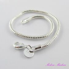 925 Stamped Silver European Snake Chain Bracelet 20cm fit European Beads
