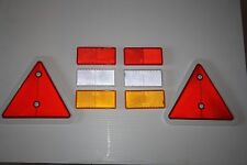 Full Trailer Reflector Set Red Triangles & self adhesive oblong red amber clear
