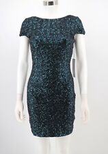 Dress the Population NWT Womens Dress Blue Sequin Bodycon Sheath Cocktail Small