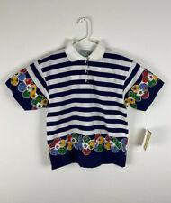 VTG NEW W/TAGS Emporio Gitano cotton stripe floral short sleeve polo shirt, M