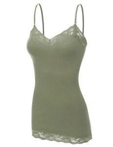 Womens Tank Top Lace Trim Cami Bozzolo Long Spaghetti Strap S,M,L    *USA* #1004