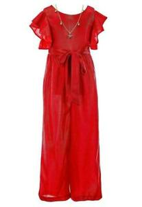 Rare Editions Girl's Jumpsuit Red Size 16 Shimmer Textured Front-Tie $48- 938