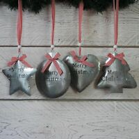 Large Christmas Decorations Metal Hanging Silver Tin Heart Tree Star or Bauble