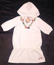 NWT Juicy Couture New Genuine Girls Age 10 White Cotton Hooded Floral Dress