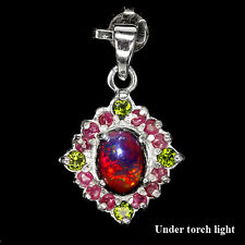 REAL OVAL9x7mm BLACK OPAL,CHROME DIOPSIDE,RUBY 14K ON 925 SILVER PENDANT ChainFr
