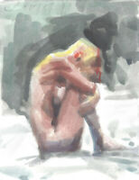INTERNAL LANDSCAPE Female Nude Figure Painting day 5x7 Impressionist Watercolor