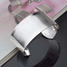 New Vintage Men Women 925 Silver Plated Creative Bangle Charm Cuff Wide Bracelet