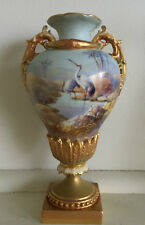 Royal Worcester Hand Painted Storks Vase Signed Walter Powell