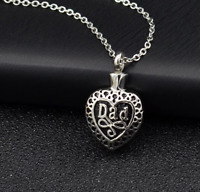 Dad RemembranceHeart Silver Cremation Ashes Urn Necklace Keepsake FuneralUK