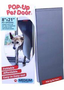 """Pop Up PET DOOR INSERT FOR SLIDING GLASS AND SCREEN DOORS 8""""x21"""""""