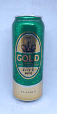 empty Gold 4,3 % Beer Can; 500 ml / 16.9 fl oz; BOTTOM opened (Slovenia)