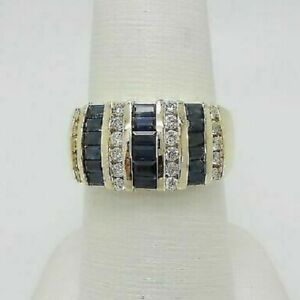 2.50CT Vintage Baguette Cut Sapphire & Diamond Ring Band 14K Yellow Gold Finish