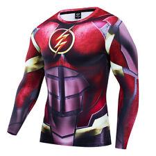 Superhero the Flash Men Costume Cosplay Compression Gym 3D Print Fitness T-shirt
