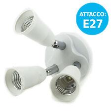 PORTALAMPADA SDOPPIATORE PER LAMPADE LAMPADINE ATTACCO E27 3 IN 1 CON 3 INGRESSI