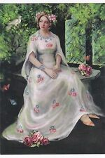 Rare Princess Grace Lady with roses by Ilushkina Russian modern postcard