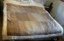 "silk duvet king topper 76""×76"" yellow edges &  back, shades of brown, gold"