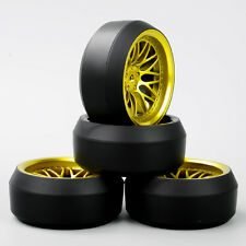 4X 1:10 RC On-Road Drift 3°Tires Rims For HSP HPI Racing 12mm Hex BBG+PP0367