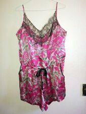 Somerset Alice Temperley 100% Silk Playsuit Pink Hummingbird Print Negligee Slip