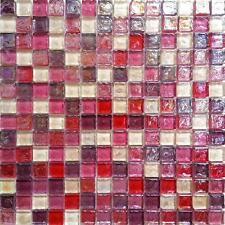 1 SQ M Hammered Pearl Pink Red Glass Wall Splashback MosaicWall Tiles 0027