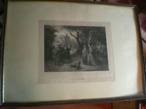 Stich  um 1840/50 zeigt - Die Falkenjagd - Les Faucons 1500 - sign.Madou 1836