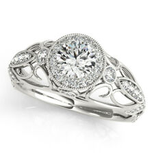 Round 1.00 Ct Natural Diamond Women Wedding Ring Solid 950 Platinum Size 6 7 8 9