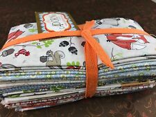 AdornIt Fabric ~ Timberland Critters FQ Bundle ~ Raccoon Fox Squirrel Frog Bird
