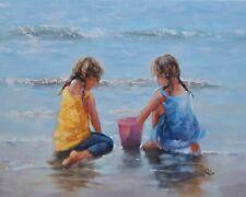 Tanya Holder Original Oil Painting 'Looking for shells' Seascape/children