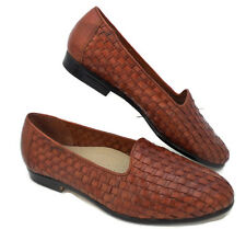 Trotters Sz 8.5 W Woven Brown Leather Slip On Flats Womens Brown Loafer Shoes