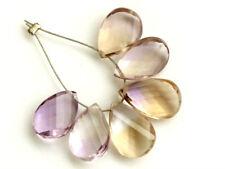 Natural Ametrine Faceted Twist Pear Briolette Gemstone Beads 6PCS