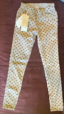 Liu JO woman reversable 2in1 bottoom up jeans_size 25_ polka dotted_beige color