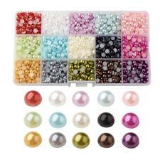 2700Pcs ABS Half Round Domed Imitation Pearl Beads Flat Back Pearl Cabochons DIY