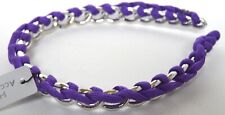NEW Silver plastic chain wrapped with Purple coloured cord alice headband